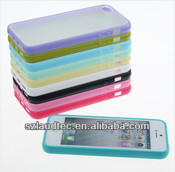 TPU BUMPER WITH CLEAR HARD BACK CASE FOR APPLE iPHONE 4 4S BUMPER CASE FOR IPHONE5 5S 5C