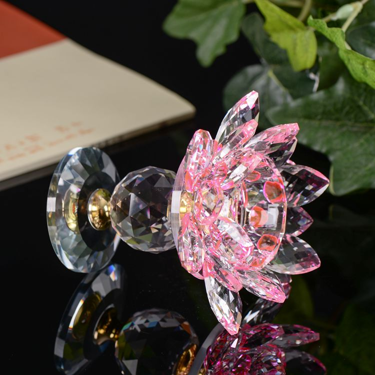 Acrylic candelabras centerpieces crystal pink lotus flower candle holder