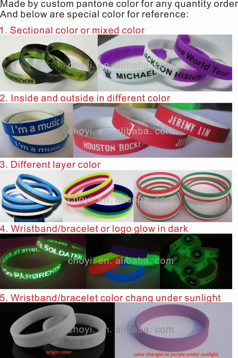 UV festival silicon wristband UV sun color changing bracelet custom rubber bracelet