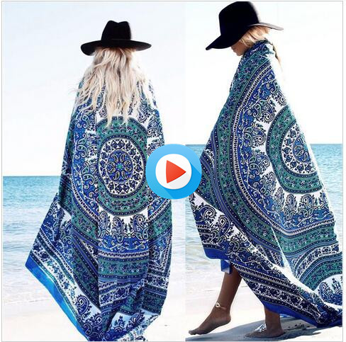 Round Beach Cover Up Scarf Hippie Tapestry Beach Mat Luxury Brand Mandala Bohemian Shawls Scarves Stoles ramadan fabric