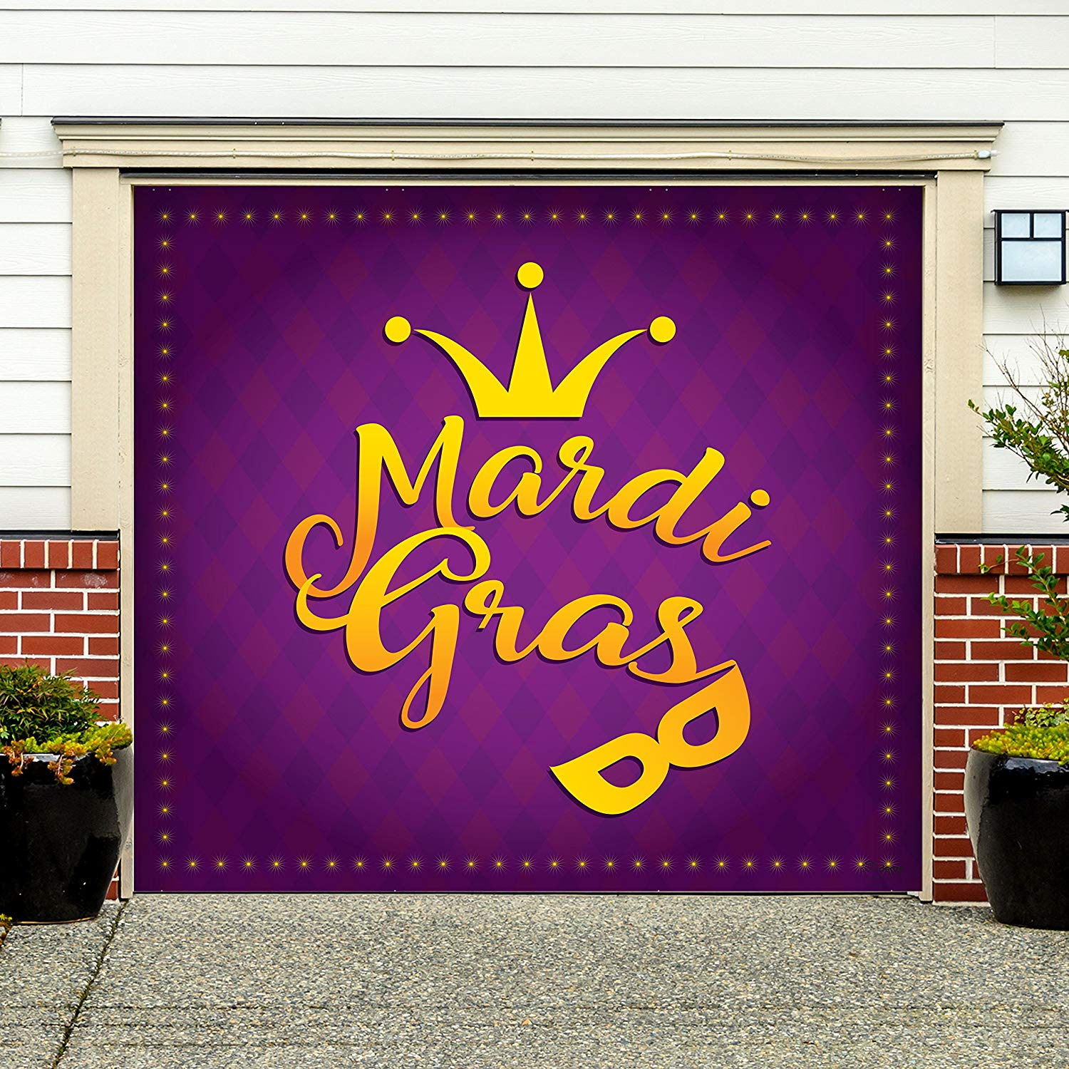 Victory Corps Outdoor Mardi Gras Decorations Garage Door Banner Cover Mural Décoration 7'x8' - Mardi Gras Crown and Mask - The Original Mardi Gras Supplies Holiday Garage Door Banner Decor
