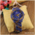 Round Dial Alloy Case Slim Leather Band Flowers new womens wrist watches ,charm watch WAT1914B