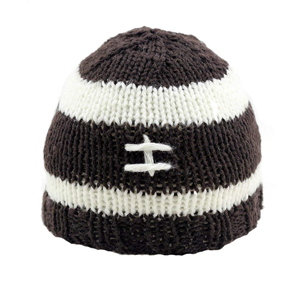 Get Quotations · BestKnit Baby Boys Brown Knit Crochet Football Beanie Hat f89142e8c