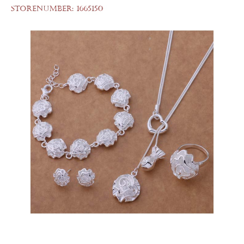 Hot Sale Sterling Silver Women Bridal Jewelry Sets Long slimsy Rose Heart Engagement Sets Free Shipping
