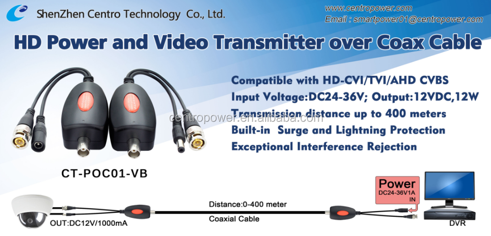 CCTV Accessories 1ch passive CCTV coax video balun, HD balun, Video Transceiver