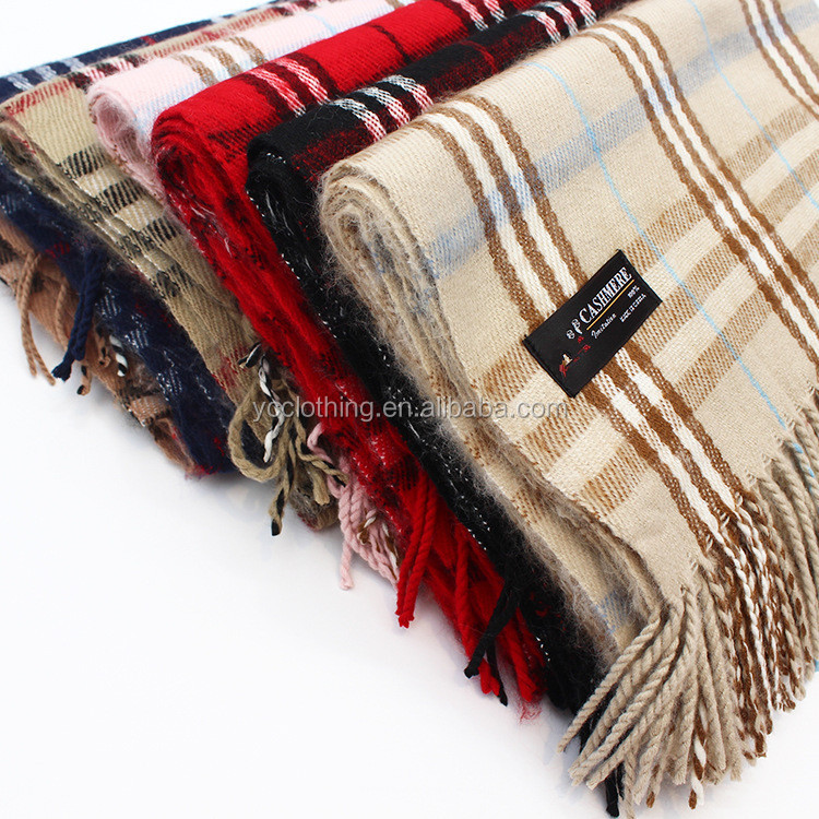 Fashion women thick tartan design cashmere scarf wholesale winter