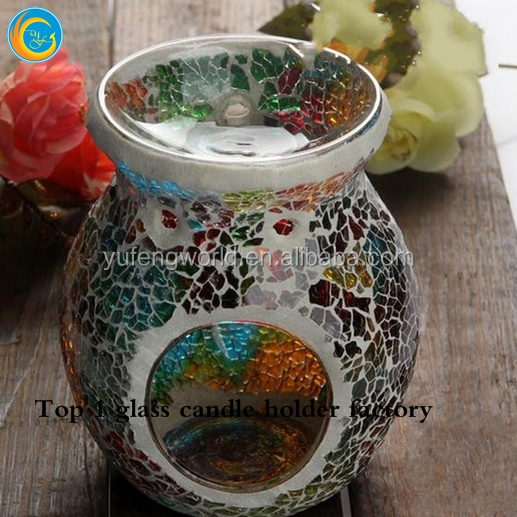 mosaic wall mounted glass candle lantern