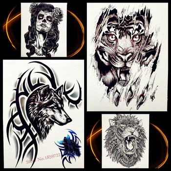 Wolf With Brambles Design Temporary Tattoo Stickers For Men Body Arm Art Tattoo Sleeve 21*15CM Women Waterpoof Fake Black Tatoo
