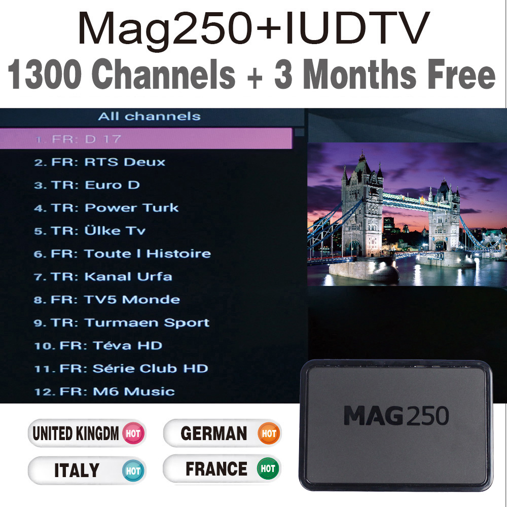 Mag 250 TV Box with 3 months IUDTV IPTV Sky It German UK full European  channels for free test - drone4sky