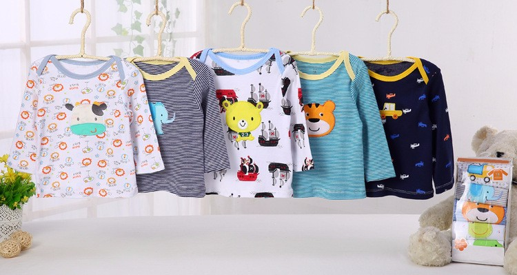 Long sleeve baby wear 100% cotton product boys and girls embroidered T shirts