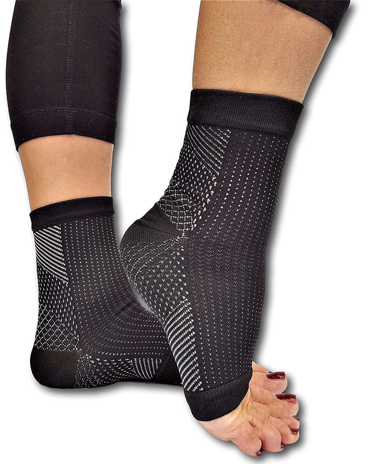 c40fc769f7 Get Quotations · Lumenon 2 pairs Plantar Fasciitis Socks with Arch Support  Eases Swelling & Heel Spurs, Ankle