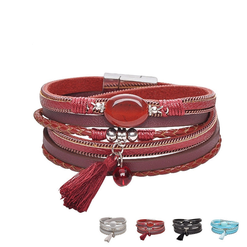 Fashion Women Handmade Jewelry Magnetic Clasp Multi Layer Pearl Crystal Leather Wrap Tassel Bracelet