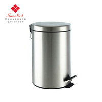 3L / 5L / 7L / 12L / 20L / 30L / 40L Round dustbin indoor pedal trash bin stainless steel for hotel