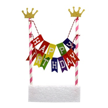 Paper Tube Straw String Banner Happy Birthday Cake Topper Bunting Banner Flag Party Favors Decoration