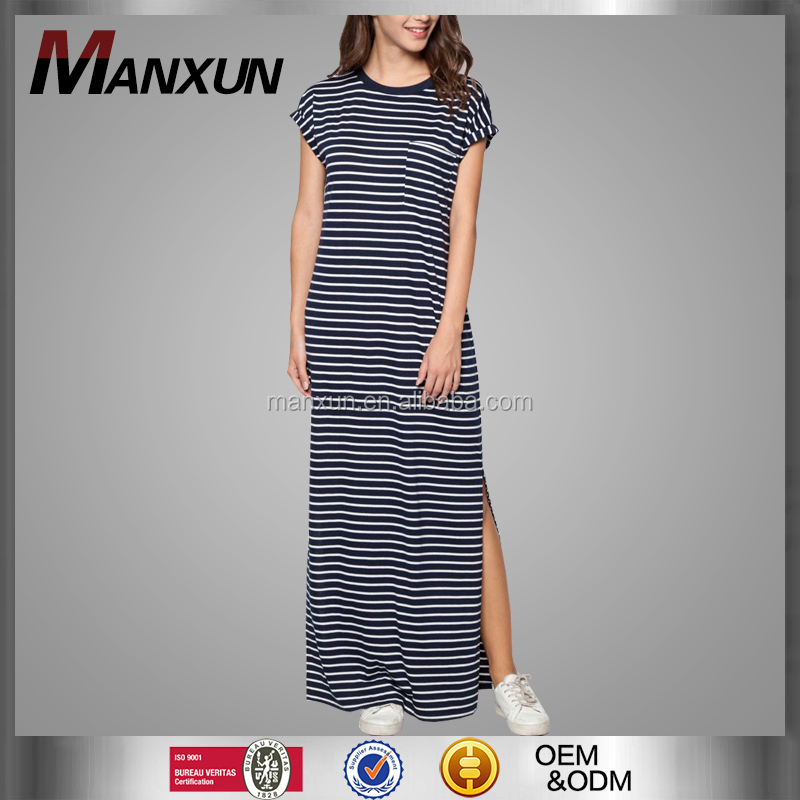 Basics Rolled Up Sleeves Maxi Dress Black White Stripes Side Slit Casual Dress
