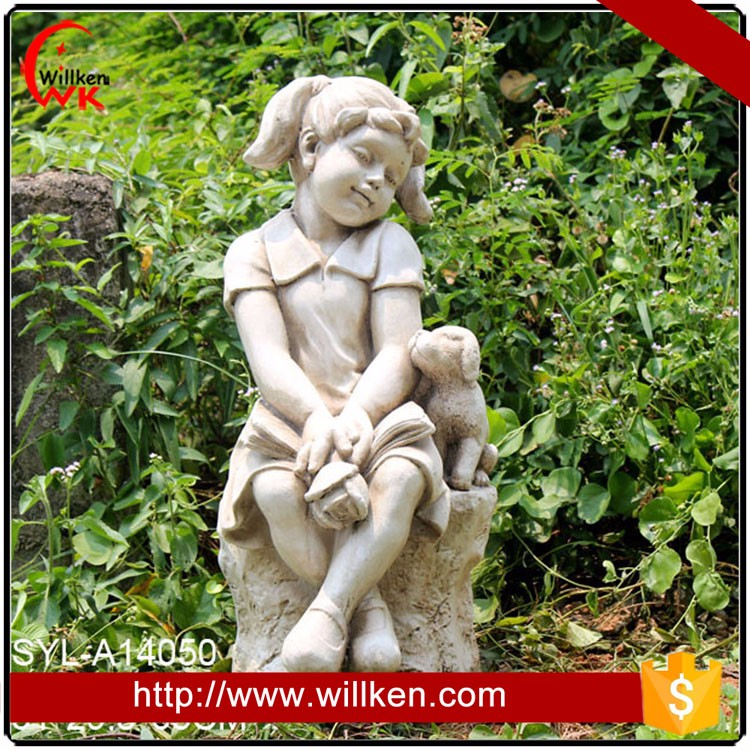 Polyresin girl garden statue for sale