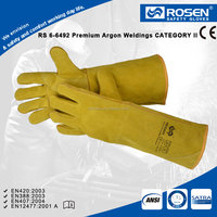RS SAFETY yellow color arm protection china yellow cow split leather working gloves