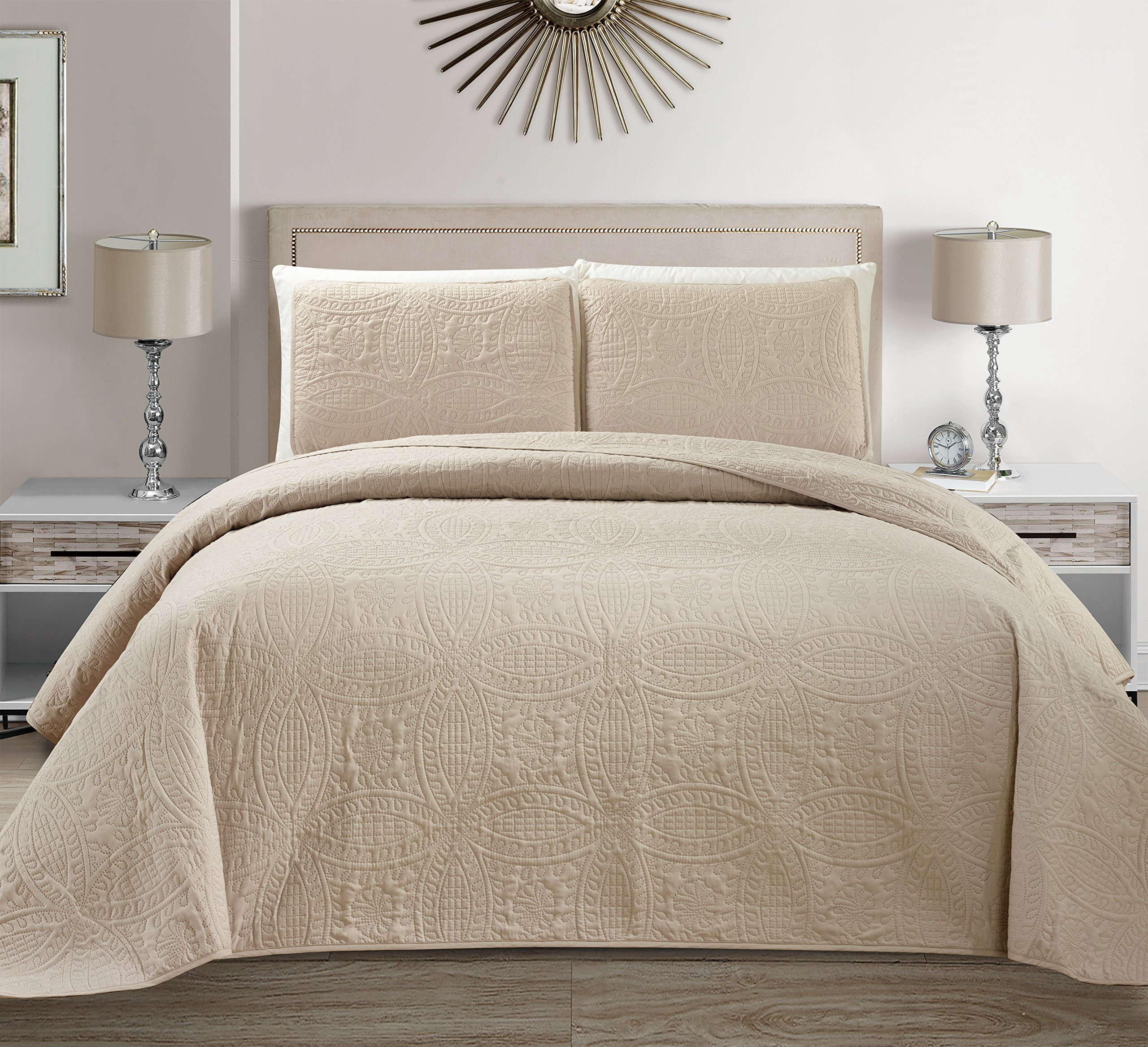 """Mk Collection 3 pc Solid Embossed Bedspread Bed-cover Over size Beige/Khaki New King/California King Over Size 118"""" x106"""""""
