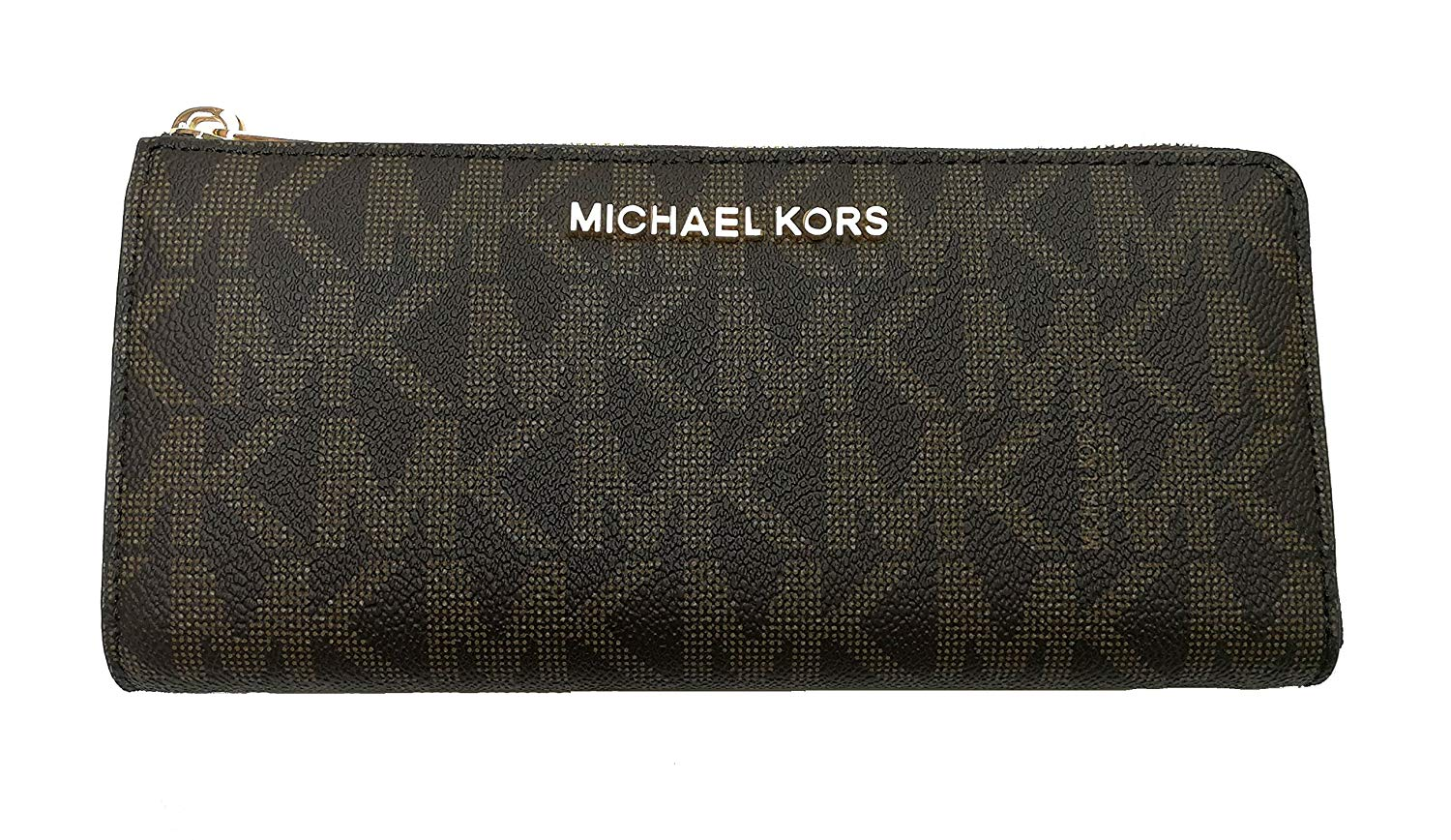 Michael Kors Bedford Large Three Quarter Zip Around Pebbled Leather Wallet (Brown/Acorn)
