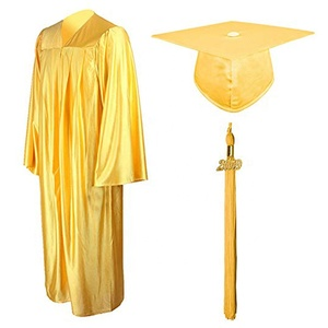 Wholesale Gold Shiny Polyester Graduation Gown and Cap