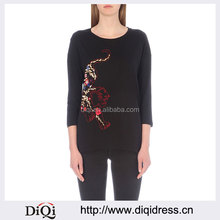 Wholesale Women Apparel Round Neck Droped Shoulders Black Cotton T-shirt(DQE0206T)