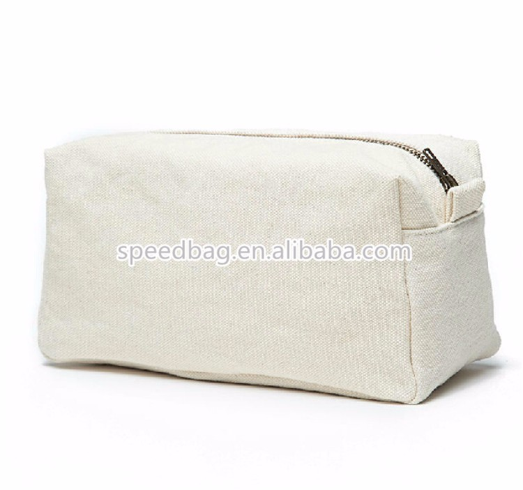 Custom logo printed white 12oz canvas cosmetic bag blank promotional  toiletry bag 192c4d6e62dd9