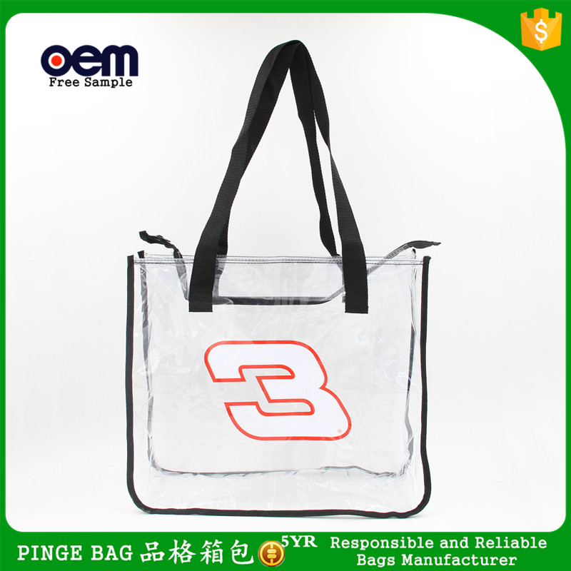 China Wholesale Clear PVC Handbag Transparent PVC Tote Bag With 3 Number In <strong>Black</strong>