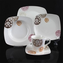 11 inch square shape porcelain delicate tulip flower decorated inexpensive Hebei factory 20PCS ceramic dinnerware set