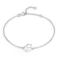 925 Sterling Silver Cute Animal Cat And Heart Link Chain Bracelets & Bangles for Women Authentic Silver Simple Jewelry Gift