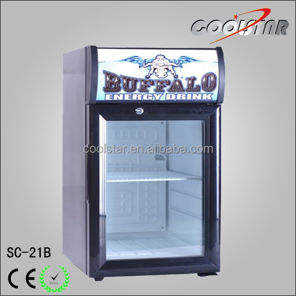 Mini counter top single glass door can refrigerator with light box
