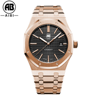 Custom Luxury brand automatic skeleton back rose gold mechanical mens watch