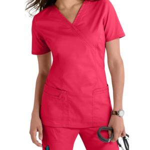 Factory Price Mock Wrap V-neck Medical Nurse Scrubs Uniforms for Beauty Salon