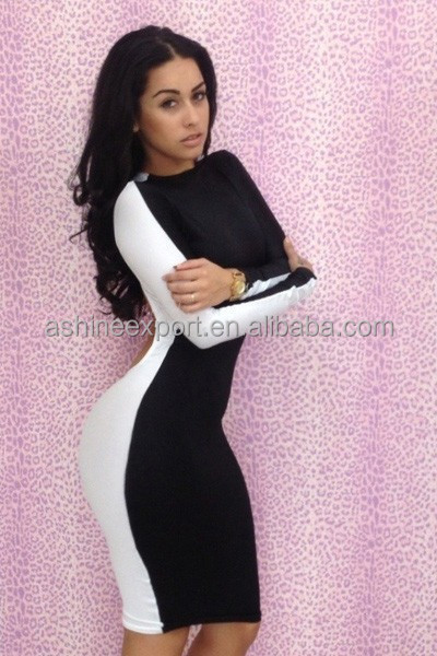 2014 Fashion Sexy Evening Black And White Long Sleeve Big Ass ...