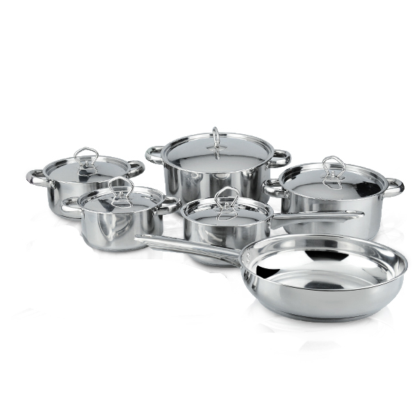 15-Piece Top Selling Kitchen Appliances Pot Sets Stainless Steel Cookware Set with Capsule Bottom