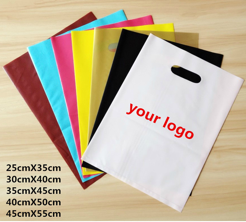 Custom Made Cut Handle Packaging 100 Biodegradable Hdpe Clothing Ping Plastic Bag Logo Print With