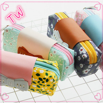 Online shopping Latest trendy hot Office colorful korean school plain canvas roll pencil case with high quality