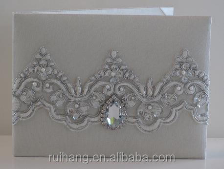 Customized Wedding Cards With Ribbon Silk Buckle Simple Clical Elegant Invitations Folio Invitation Crystal Ball