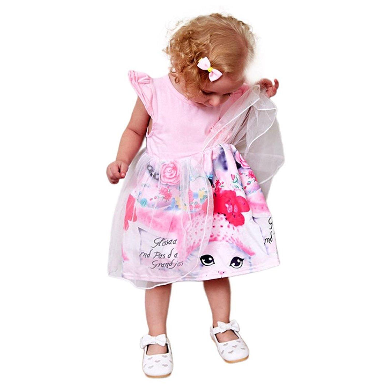d6c25baf2 Get Quotations · Orangeskycn Baby Girls Tutu Dress Cartoon Animal Print  Princess Dress Tulle Outfits Sundress