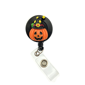 Halloween pumpkin with hat Jack O lantern retractable acrylic badge holder