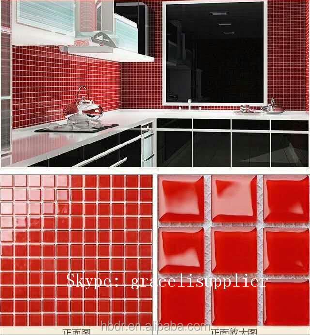 Mooie chinese zelfklevende polijsten moza ek aangepaste ontwerpen af te drukken rood glas tegel - Rode mozaiek tegel ...
