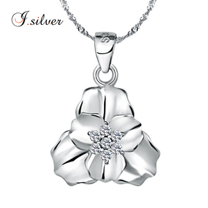 925 sterling silver jewelry happiness flower clover triangle pendant P30071