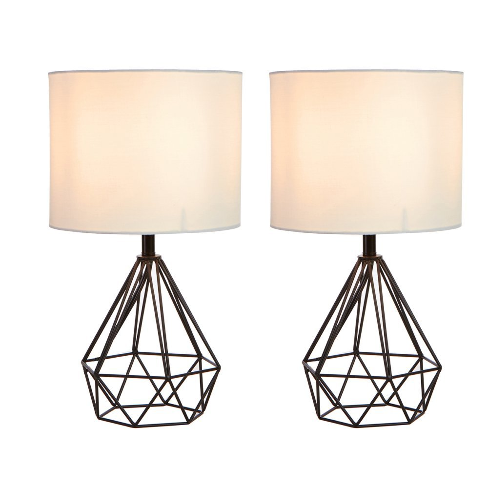 SOTTAE Modern Black Hollowed Out Base Livingroom Bedroom Bedside Table Lamp,Desk Lamp With White Fabric Shade( Set of 2 )