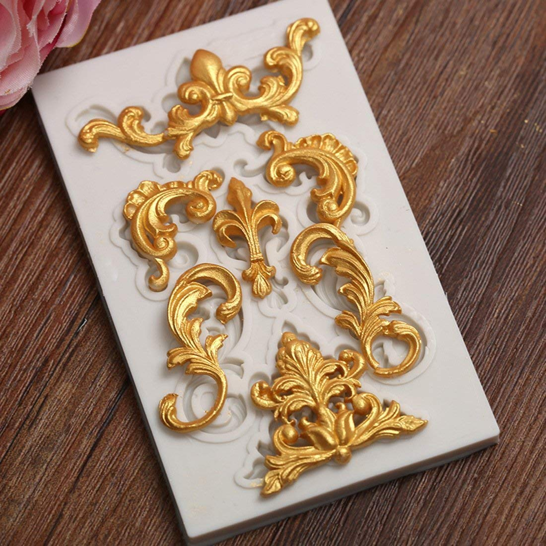 Astra Gourmet 1PC Baroque Style Curlicues Scroll Lace Fondant Silicone Mold for Sugarcraft, Cake Border Decoration, Cupcake Topper, Jewelry, Polymer Clay, Crafting Projects