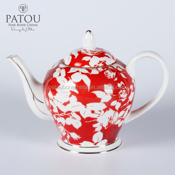 Red Color porcelain tea pot coffee pot for ceremony promotional gift