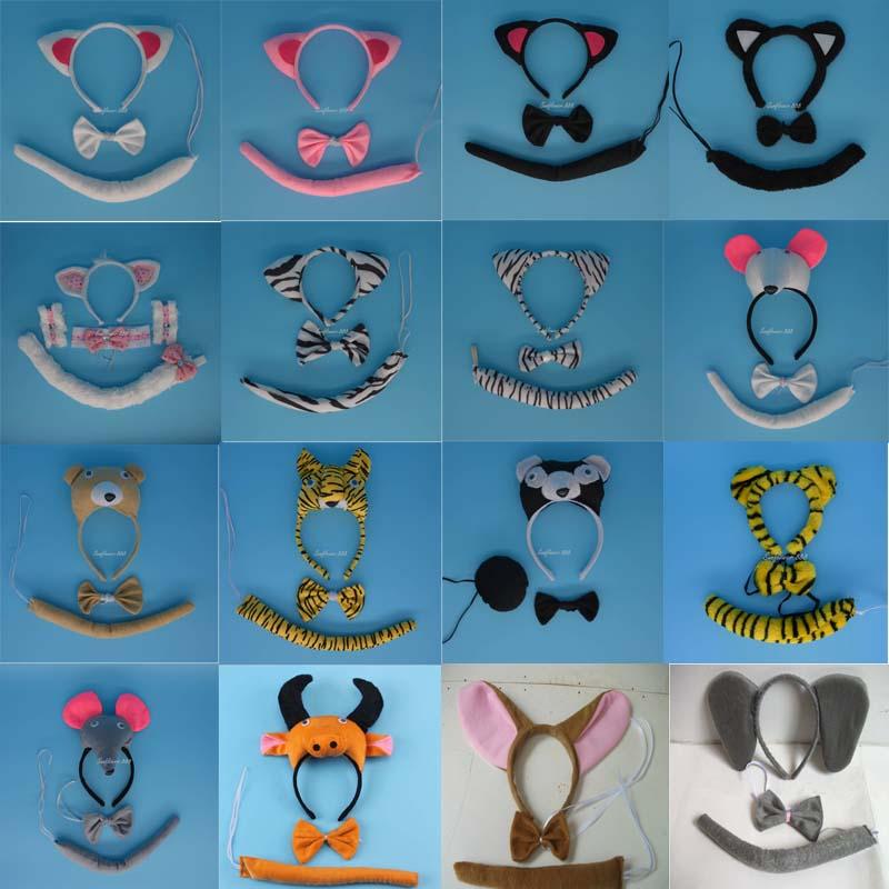 2016 New Animal Cat Ear Headband Tail Tie Halloween Carnival font b Fancy b font font