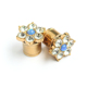 Flower crystal and dichroic ear plug piercing jewelry gold plated