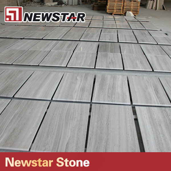 China good quality white wood grain marble tile