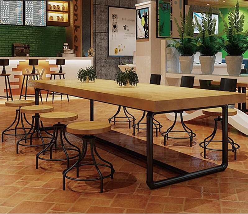 Industrial Loft Style Restaurant Furniture, Custom Made Furniture ,wooden  Table With Metal Legs