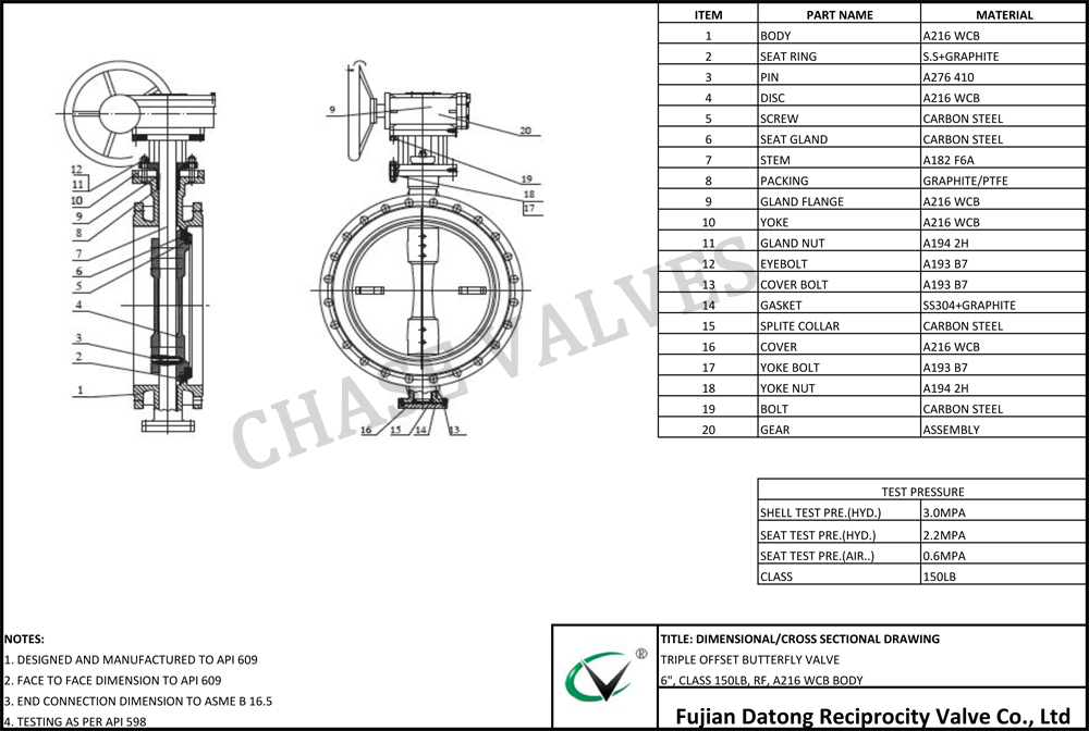 Large Size Metal Seat Triple Eccentric Butterfly Valve For ...