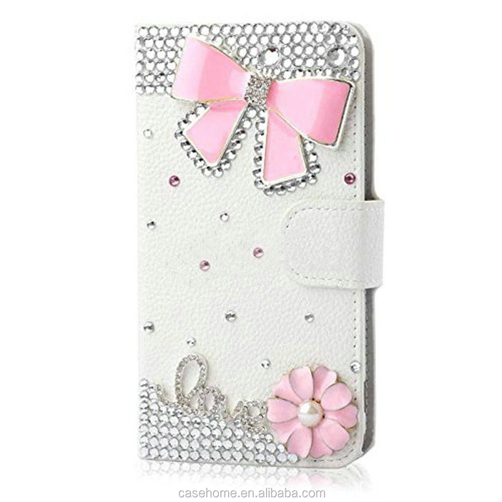 Bling Crystal Diamonds Leather Stand Flip Cover For